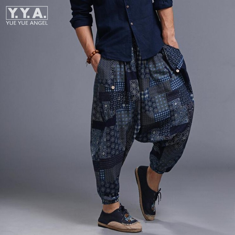 Hot Sale Mens Samurai Boho Casual Loose Harem Baggy Hakama Linen Japanese Pants Floral Printed Elastic Waist Cross-pants For Men