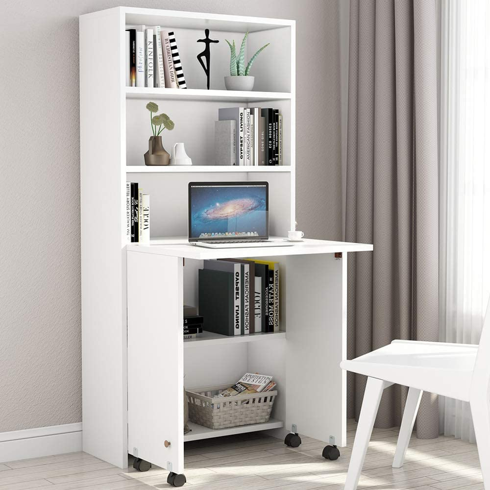 Folding Computer Desk with Shelves and Fold Out Storage Cabinet