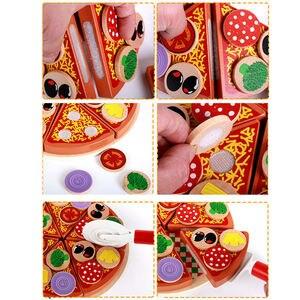 Image 5 - 27 sztuk udawaj zagraj w symulację drewniane Kichen cięcie pizzy zestaw zabawek do odgrywania ról gotowanie zabawki wczesny rozwój zabawki dla dzieci prezent