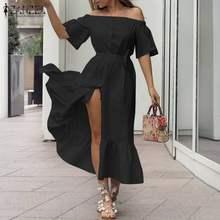 Plus Size ZANZEA Elegant Women Dress 2021 Summer Off Shoulder Midi Vestidos Casaul Ruffle Belted Long Sundress Lady Party Robe