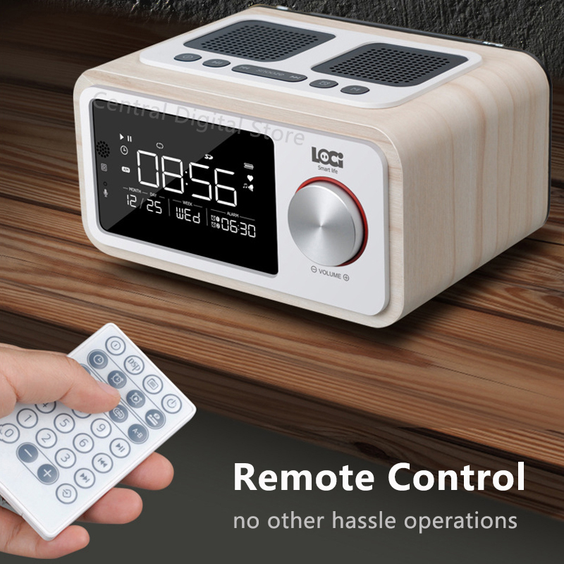 Retro Holz Drahtlose Bluetooth Lautsprecher Kleine Tragbare 6W Hause Led bildschirm FM Radio Wecker Stereo Lautsprecher Bass Subwoofer - 5