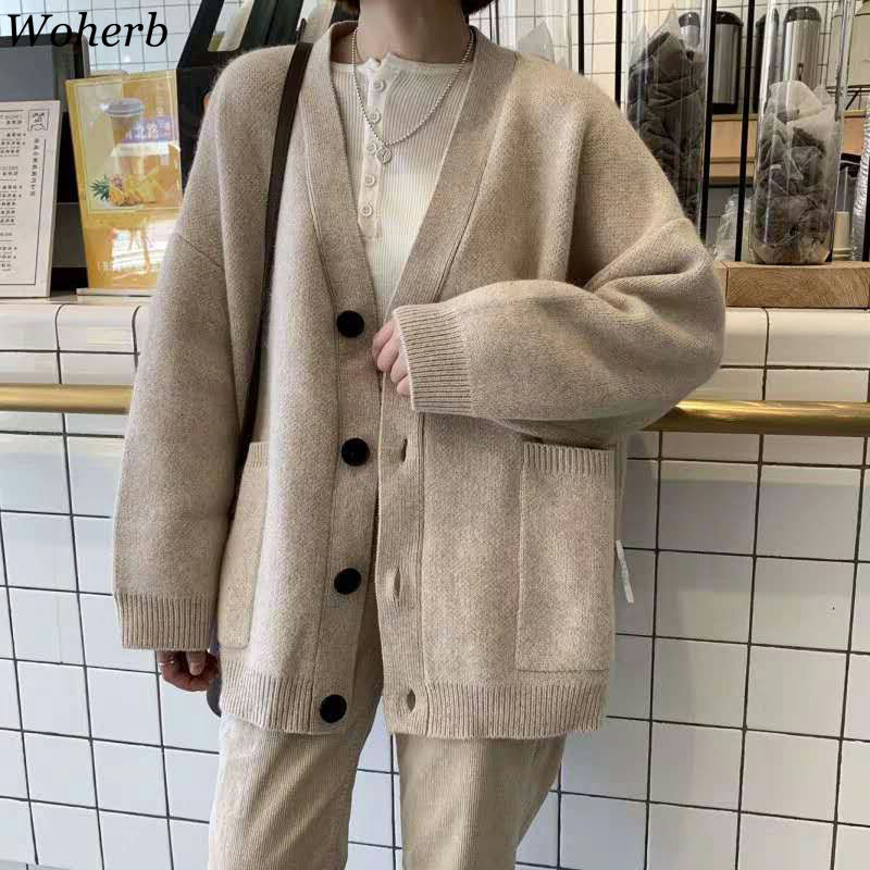 Woherb Black Knitted Sweater Women V Neck Long Sleeve Solid Color Cardigan Vintage Harajuku Casual Loose Tops Fashion New 90728