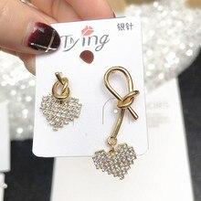Rhinestone Love Heart Earrings Temperament Fashion Long Stud