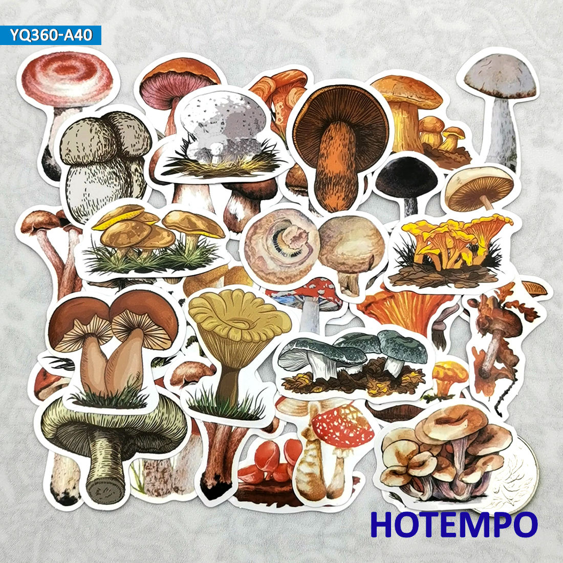 40pcs Hand Drawing Art Style Mushroom Fungus Travel Diary Stickers For Scrapbook Stationery Mobile Phone Laptop Decal Stickers