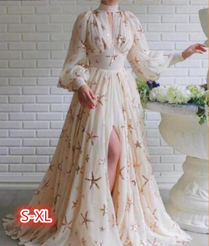 Brand New Half turtleneck Lady Stars Sequins Lantern Long Sleeve Big Swing High Split Chiffon Ground Long Dress Evening Gown|Dresses| - AliExpress