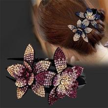 Стразы двойной цветок заколка для волос кристалл жемчуг гребень для волос женские элегантные бусины заколка ручной работы модные аксессуа...