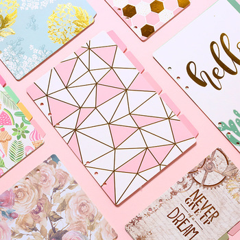Kawaii A5 A6 Flower Planner Notebook 5 Sheets Separator DIY Agenda Loose-leaf Inner Pages Office Stationery For School Girl Gift planner sheets for hobonichi standard journal a5 a6 120 sheet diy agenda daily planner 2018 note for school office supplies