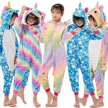 Kigurumi Kids Unicorn Pajamas For Children Animal Cartoon Blanket Sleepers Baby Costume Winter Boy Girl Licorne Jumspuit Onesie