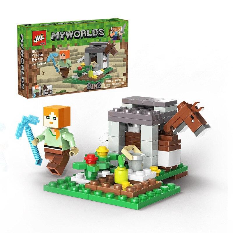 Juego de Minecraft de Steve, modelo de juego periférico creativo, muñeco móvil, juguete de bloques de construcción ensamblados, ornamento, juguete de regalo de cumpleaños