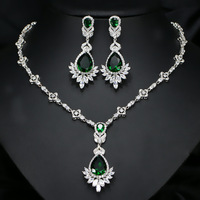 ZA Exquisite Women Big Drop Blue Green Costume Jewellery Sets Cubic Zirconia Crystal Bridal Wedding Evening Earring Necklace Set