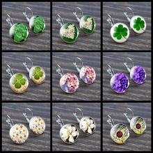 Simple Style Four-leaf Clover Daisy Rose Sakura Flowers Earings Round Wedding Jewelry Silver Stud Earrings for Women Gifts hot sell high quality four leaf clover stud earrings classic jewelry for women brincos shell two flowers stud earrings wholesale