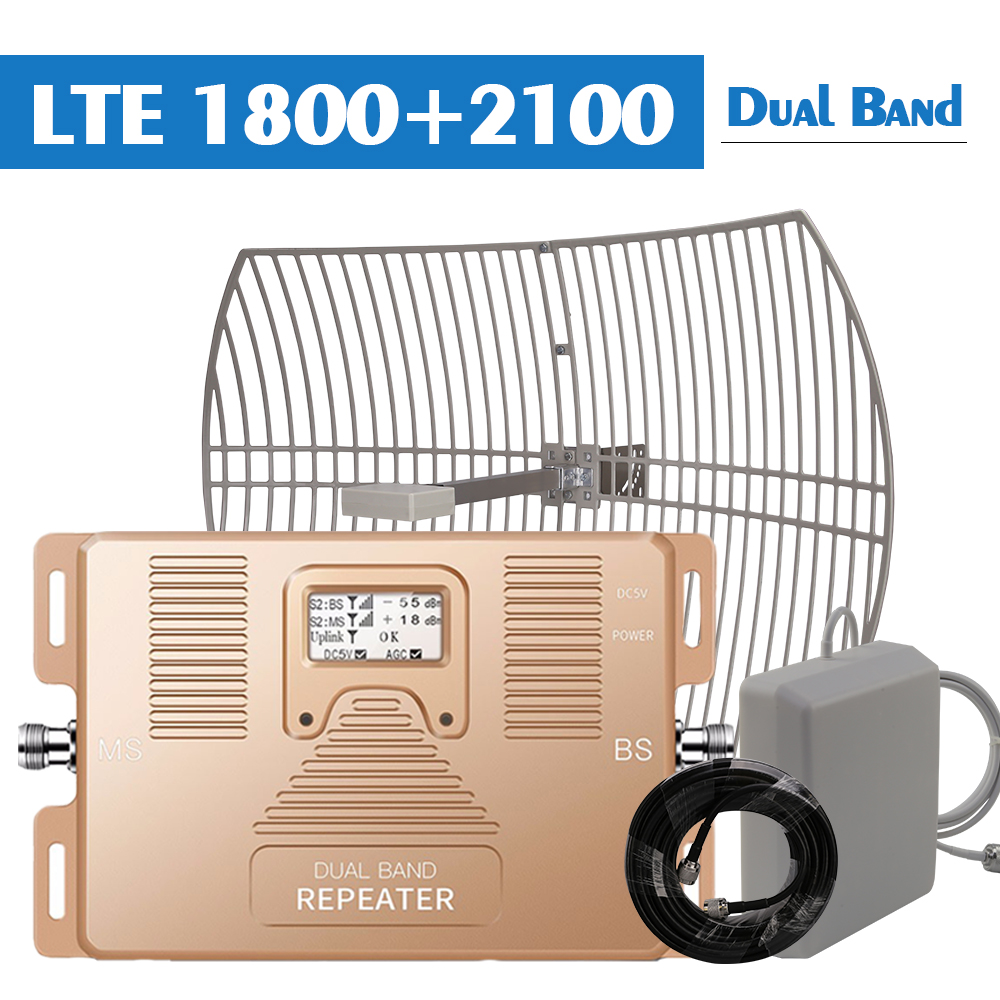 24 DBi Gain External Grid Antenna 2g 3g 4g Signal Repeater GSM 1800 WCDMA 2100 MHz Amplifier 3G UMTS 4G LTE Booster Set @ B3 B1