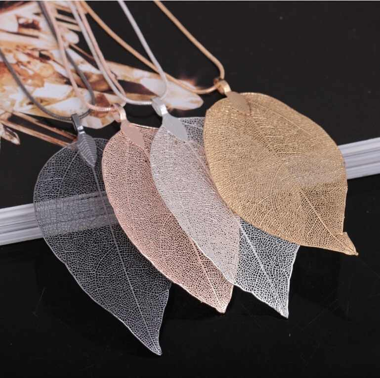 1PCS Sweater Coat Necklaces Ladies And Girls Special Leaves Leaf sweater Pendant Necklace Long Chain Jewelry for Womens Gift