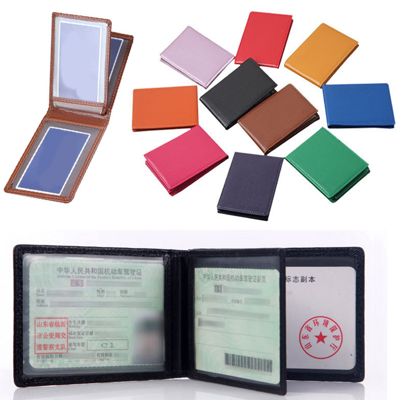 Solid Color Cover For Car Driving Documents PU Driver License Holder Documents Business Folder Wallet Cover Business Card Holder