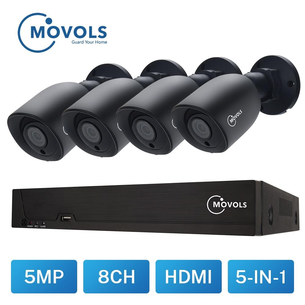 MOVOLS 5MP Video Überwachung kit H.264 + 8ch DVR 4PCS CCTV Kamera Sicherheit System IR Überwachung Im Freien Wasserdichte Kamera kit