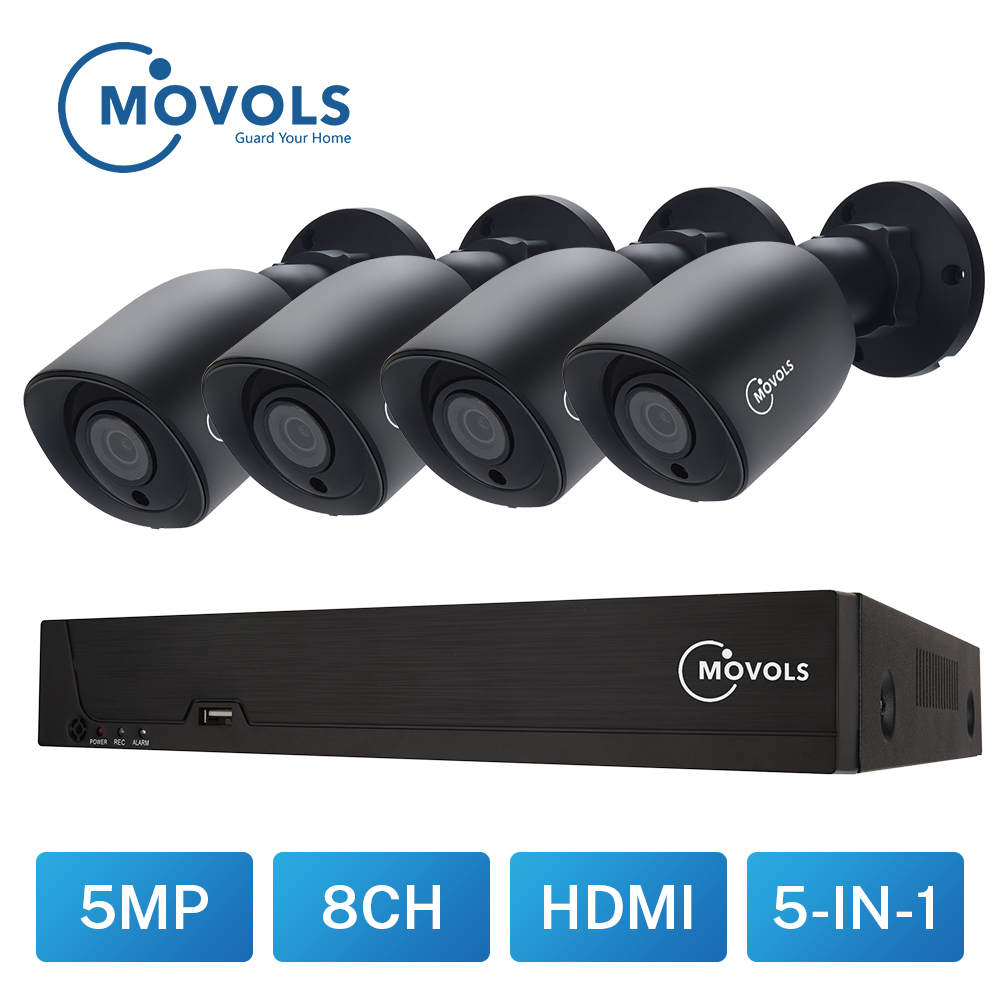 MOVOLS 5MP Video Surveillance Kit H.264+ 8ch DVR 4PCS CCTV Camera Security System IR Surveillance Outdoor Waterproof Camera Kit