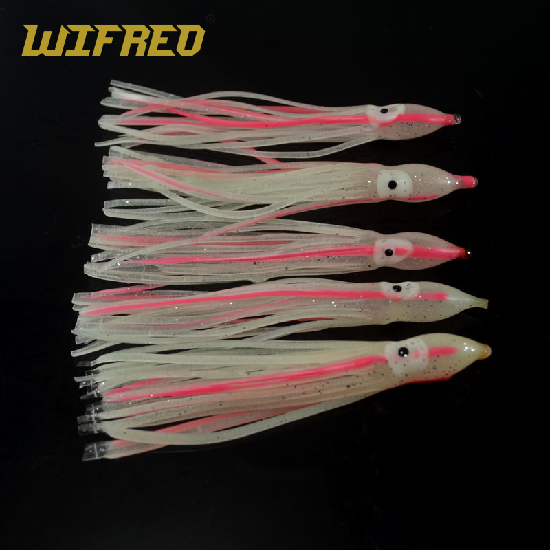 OCTOPUS LURE BAITS GREEN SQUID SKIRT HOOCHIES 10cm. 100 PCS 4/""
