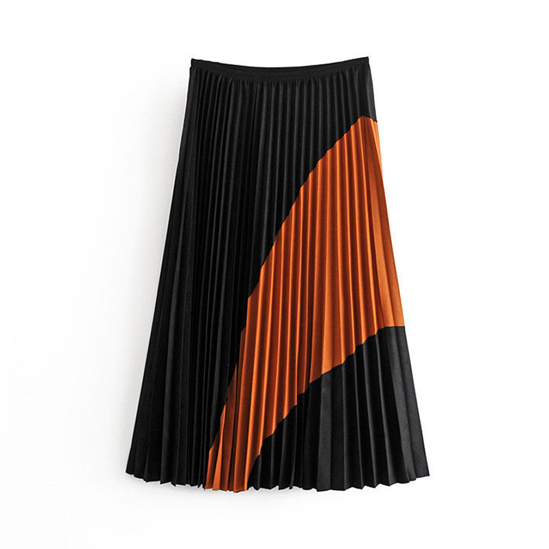 Women Vintage Patchwork Suede Pleated Skirt Stylish High Waist Side Zipper Ladies Midi Skirts Faldas Mujer Moda 2019