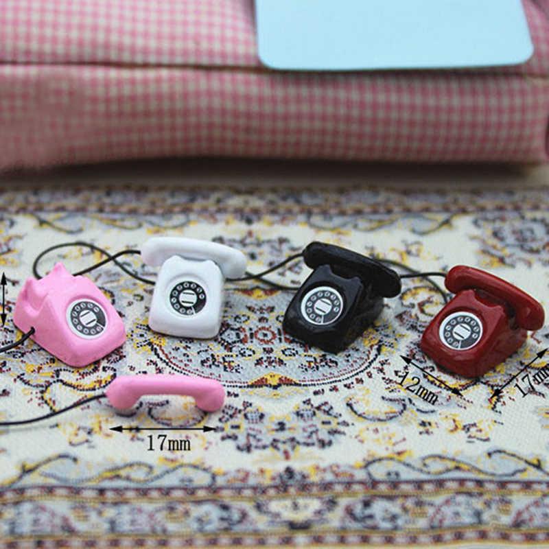 1/12 Mini Home przewodowy telefon domek dla lalek miniaturowa zabawka dekoracyjna prezent dla dzieci domek dla lalek miniaturowy metalowy telefon udawaj zagraj w Pop