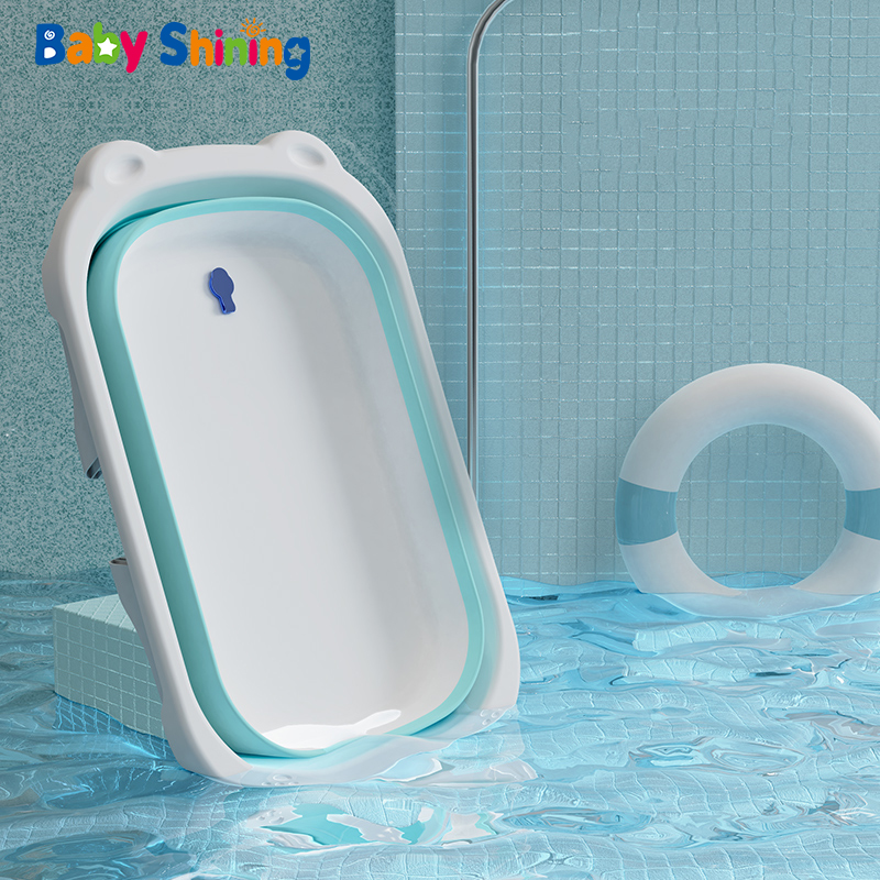 Baby Shining Folding Bath Tub 0-6Y Portable Temperature Reminder Newborn Sit Lie Large Bath Bucket Baby Product Gift Boy Girl title=