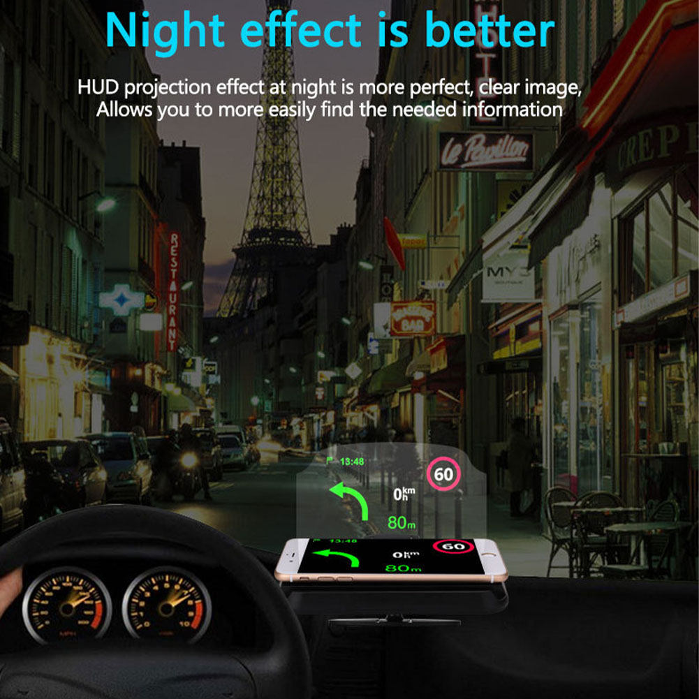 Car Projector Speed Warning HD Phone Holder Safe Clear Smart Head Up Display Multifunction Portable GPS Navigation Driving