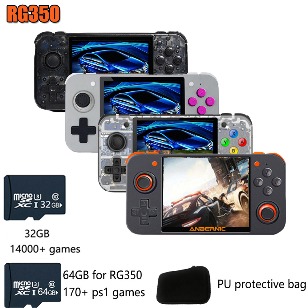 Novo jogo retro rg350 jogo de vídeo handheld console do jogo mini 64 bits ips tela 16g + 32g tf jogador de jogo rg350 para ps1 jogo