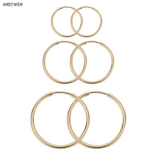 ANDYWEN 925 Sterling Silver Gold Different Circle Slim Hoops Earring Big Large Loops Rock Punk Clasp Piercing Ohrringe Jewelry