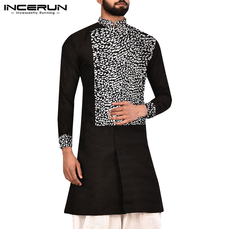 INCERUN Men Shirt Long Sleeve Printed Patchwork Vintage Stand Collar Tops Streetwear Indian Kurta Casual Muslim Men Long Shirts