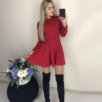 Autumn Long Sleeve Sexy a Line Party Dress Ladies Office Work Basic Shirt Dress 2019 Fashion Elegant Mini Dress Winter Vestidos 2