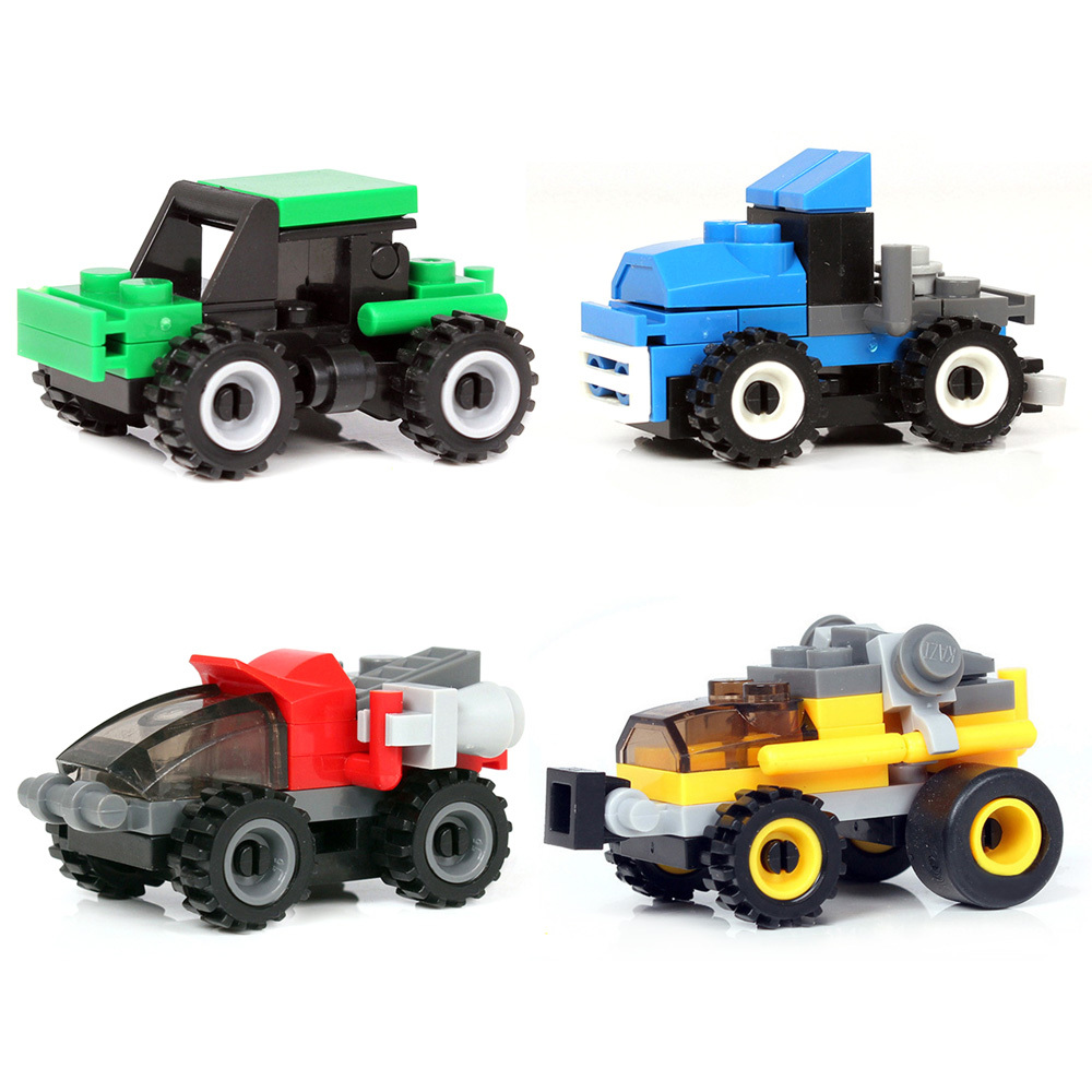 DIY Children Blocks Toy For Education Assembly Car Blocks Engineer Forklift Navy Drilling Roller Building Blocks Toys Racing Car