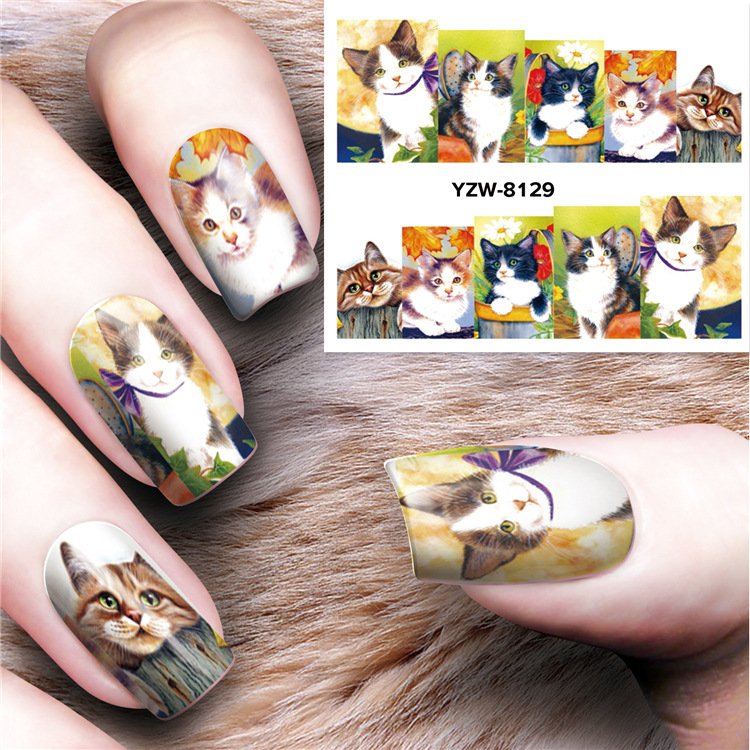 Japanese-style Manicure Watermarking Adhesive Paper Meng Kitty 3D Nail Sticker Ultra-Thin Nail Sticker Flower Jewelry