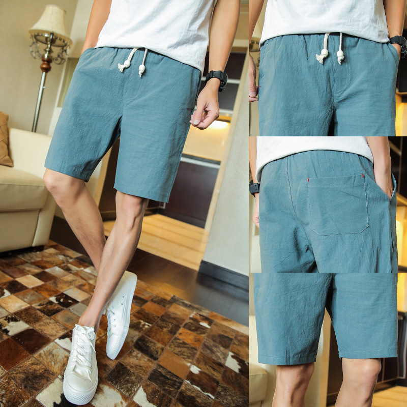 Large Cargo New Style Linen Pants Cotton Linen Shorts Plus-sized Menswear Summer Thin Section Beach Shorts