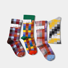 Ins Style Plaid Socks Men Women Hip Hop Cotton Long Unisex Funny Streetwear Calcetines Hombre Autumn