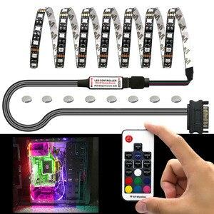 Elisona 1m listwa oświetleniowa LED RGB na PC obudowa komputera dekoracyjny element oświetleniowy zestaw w \ \ \/magnes bezprzewodowy pilot SATA Supply