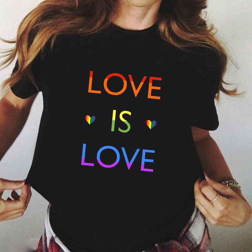 2020 New Fashion Casual Lgbt Gay Pride T Shirt Lesbian Pride Rainbow Love Is Love Printed Gay Shirts Tops Harajuku Women Tshirt