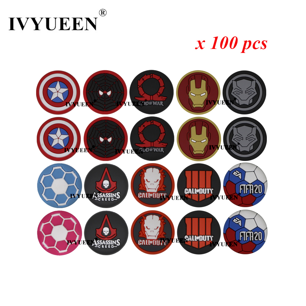 IVYUEEN 100 Pcs For PlayStation 4 PS4 Pro Slim Controller Analog Thumb Grip Stick Caps  For XBox One X S 360 Joystick Cover
