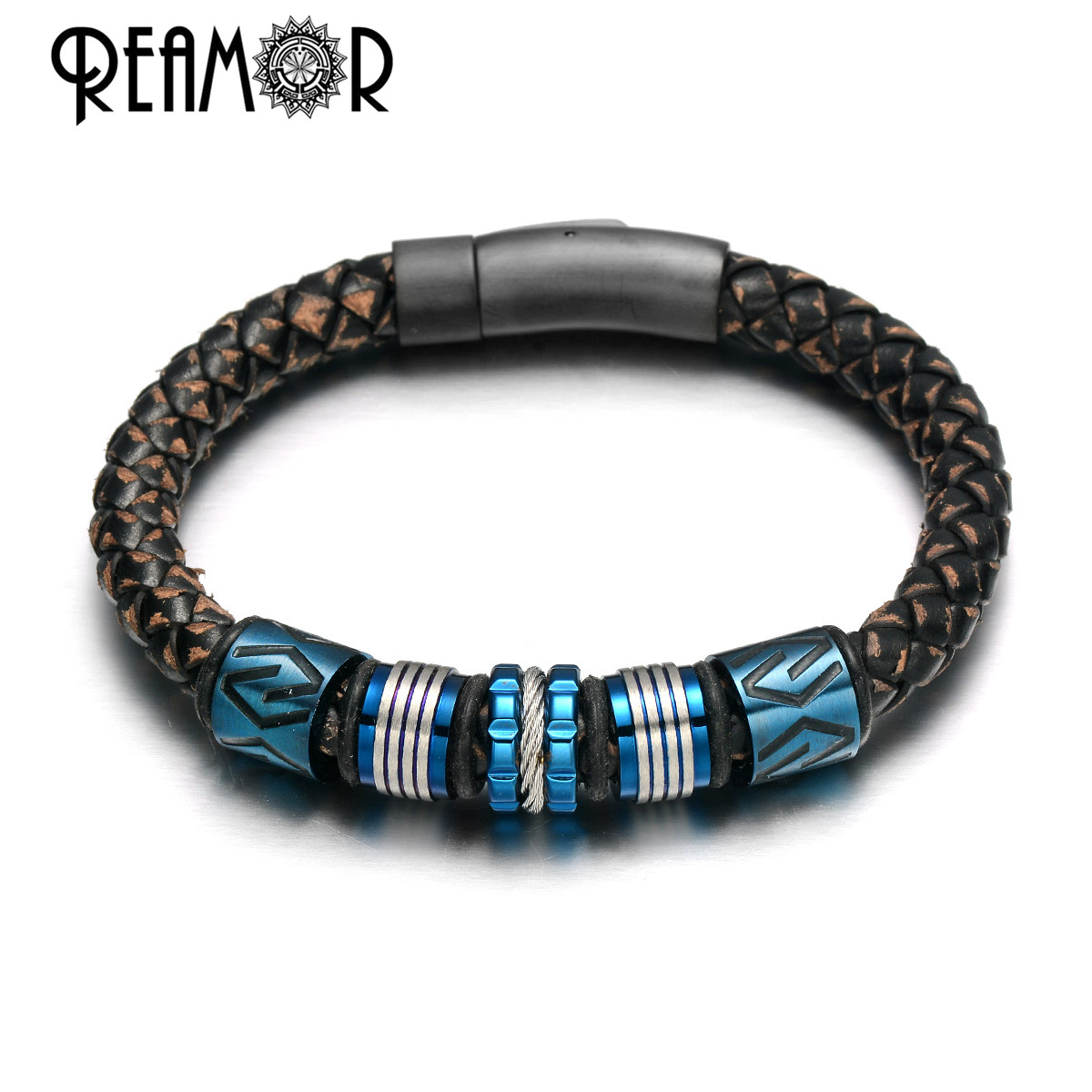 REAMOR Retro Textured Cowhide Genuine Leather Bracelet Men 316l Stainless steel Blue CNC Beads Handmade Bracelets Woven Bangle