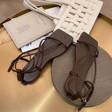 mljuese 2018 women flats brown color cow leather square toe flats spring comfortable oxfords women shoes size 34 43 office shoes Square Toe Sandals Women Flat 2020 Summer Strappy Ladies Shoes Leather Flats Female Beige Brown Sandals