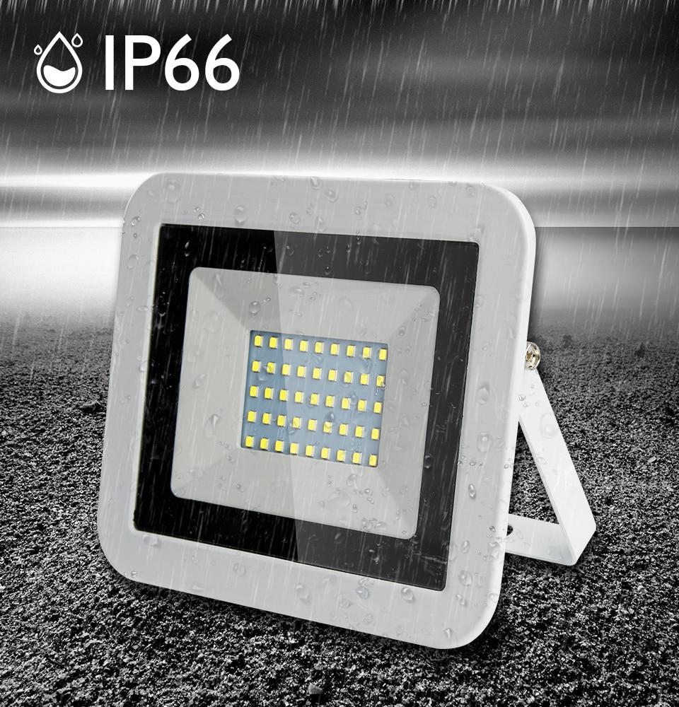 White Shell Spotlight Ultra Thin Led Flood Light Spotlight Outdoor AC220V IP65 Path Garden Street Gate Wall Lamp Flood Lighting