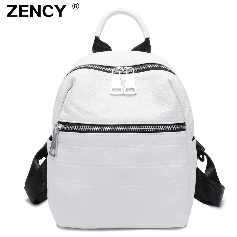 ZENCY 2019 Small Summer Soft Natural Genuine Leather First Layer Cow Leather Women Backpack Ladies Cowhide White Backpacks
