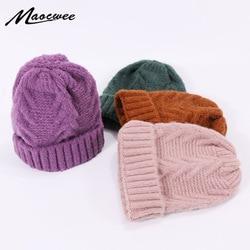 Женская зимняя вязаная шапка, шерстяная теплая хлопковая шапка, Уличная Повседневная однотонная женская шапочка, вязаные шапочки для девоч...