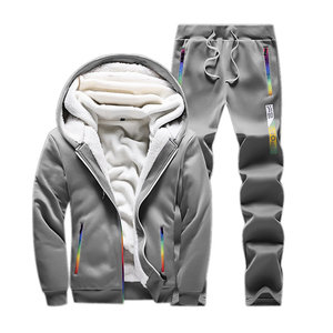 Image 3 - Kış eşofman erkekler Set rahat kalınlaşmak polar sıcak kapüşonlu ceket pantolon bahar kazak spor mont Hoodie eşofman takımları