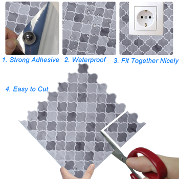 Latern Peel and Stick Self Adhesive Removable Stick On Kitchen Backsplash Bathroom 3D Wall Tiles image