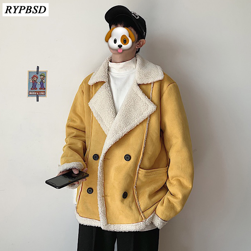 Men Fur Coat Faux Jacket Warm Winter 2019 New High Quality Thicken Fur Lamb Coat Wool Men Tide Brand Loose Fur Wool Coat Men