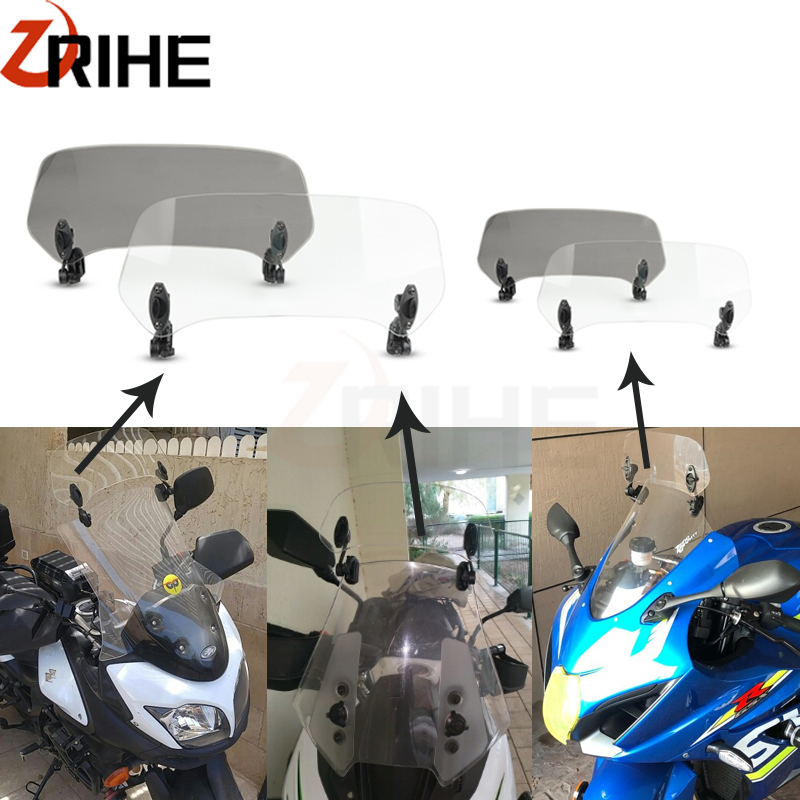 Motorcycle Adjustable Clip On Windshield Extension Spoiler Windscreen Air Deflector For <font><b>Benelli</b></font> TRK502X <font><b>BJ500GS</b></font>-A BJ300J-5A image