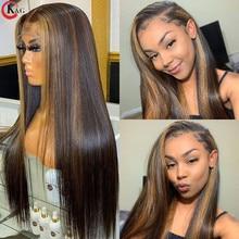 KUNGANG Highlight13 * 4 pelucas de encaje recto pelucas de cabello humano brasileño frente pelucas 150% densidad con el pelo del bebé no Remy