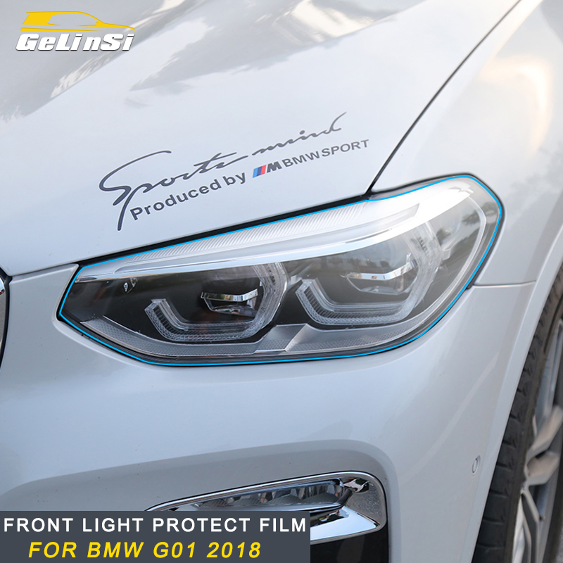 Gelinsi For 2018 <font><b>2019</b></font> <font><b>BMW</b></font> X3 G01 <font><b>X4</b></font> G02 Car Front Light Lamp Headlight Protector Films Cover Trim Stickers Exterior <font><b>Accessories</b></font> image