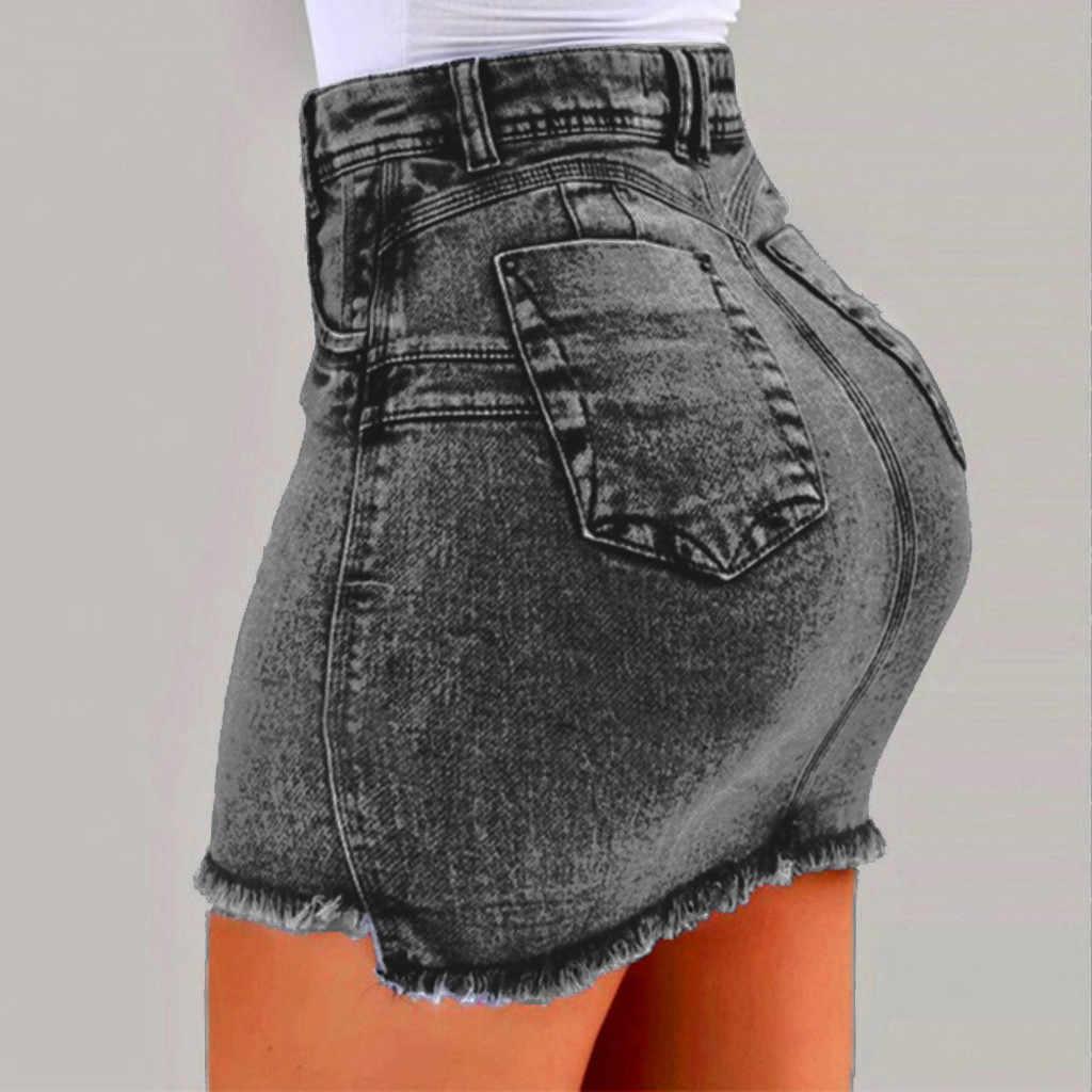 38 # 女性のスカートスカート新しい女性の夏のジーンズは女性のポケット洗浄デニムミニスカートペチコートファム