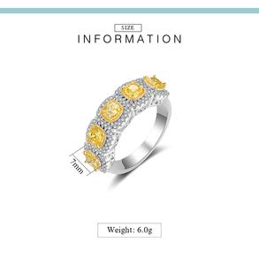 Image 5 - Mytys Fashion Romantic Ring Exquisite Created Yellow Color AAA Cubic Zircon Ring for Women Full Setring Luxury Jewelry R2149