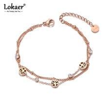 Lokaer pulseira feminina, pulseira de aço inoxidável, bracelete com pingente de árvore de ctystal b19081